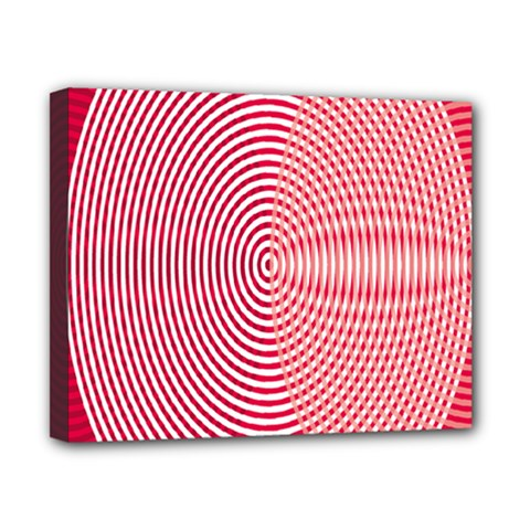 Circle Line Red Pink White Wave Canvas 10  x 8