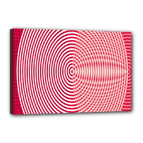 Circle Line Red Pink White Wave Canvas 18  x 12