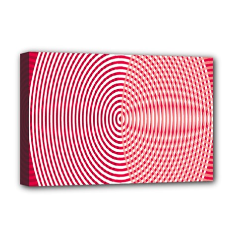 Circle Line Red Pink White Wave Deluxe Canvas 18  x 12