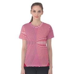 Circle Line Red Pink White Wave Women s Cotton Tee