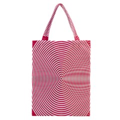 Circle Line Red Pink White Wave Classic Tote Bag