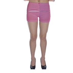 Circle Line Red Pink White Wave Skinny Shorts