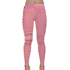 Circle Line Red Pink White Wave Classic Yoga Leggings