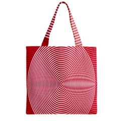 Circle Line Red Pink White Wave Zipper Grocery Tote Bag
