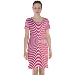 Circle Line Red Pink White Wave Short Sleeve Nightdress