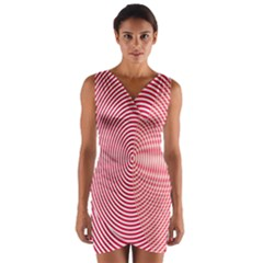 Circle Line Red Pink White Wave Wrap Front Bodycon Dress