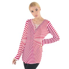 Circle Line Red Pink White Wave Women s Tie Up Tee