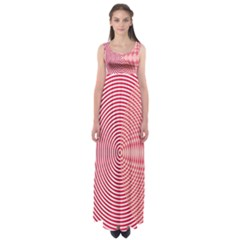 Circle Line Red Pink White Wave Empire Waist Maxi Dress