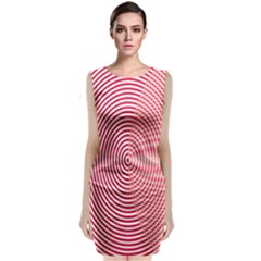 Circle Line Red Pink White Wave Classic Sleeveless Midi Dress