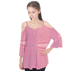 Circle Line Red Pink White Wave Flutter Tees
