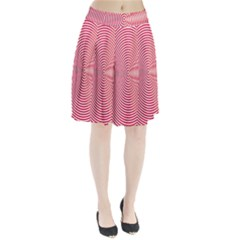 Circle Line Red Pink White Wave Pleated Skirt