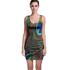 Peacock Feathers Sleeveless Bodycon Dress