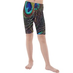 Peacock Feathers Kids  Mid Length Swim Shorts