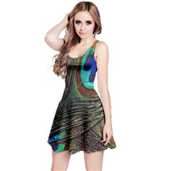 Peacock Feathers Reversible Sleeveless Dress