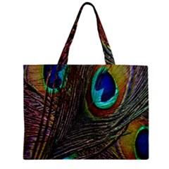 Peacock Feathers Zipper Mini Tote Bag