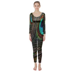 Peacock Feathers Long Sleeve Catsuit