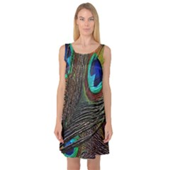 Peacock Feathers Sleeveless Satin Nightdress