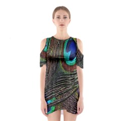 Peacock Feathers Shoulder Cutout One Piece