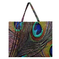 Peacock Feathers Zipper Large Tote Bag