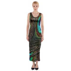 Peacock Feathers Fitted Maxi Dress
