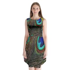 Peacock Feathers Sleeveless Chiffon Dress