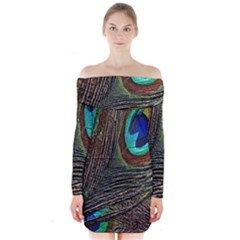 Peacock Feathers Long Sleeve Off Shoulder Dress
