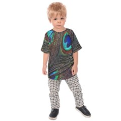 Peacock Feathers Kids  Raglan Tee