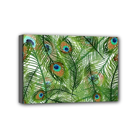 Peacock Feathers Pattern Mini Canvas 6  x 4