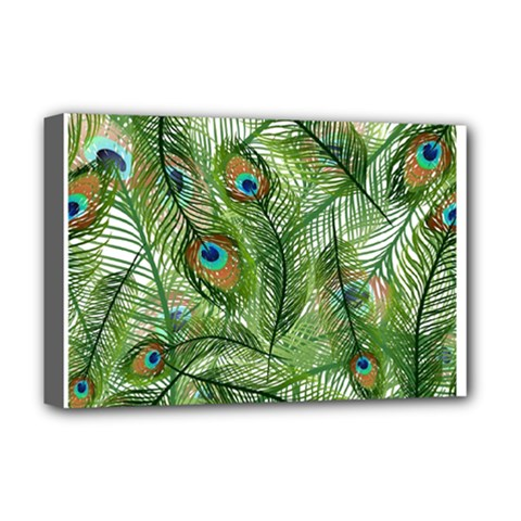 Peacock Feathers Pattern Deluxe Canvas 18  x 12