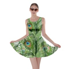 Peacock Feathers Pattern Skater Dress