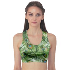 Peacock Feathers Pattern Sports Bra