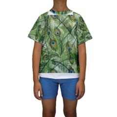 Peacock Feathers Pattern Kids  Short Sleeve Swimwear