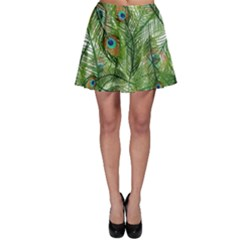 Peacock Feathers Pattern Skater Skirt