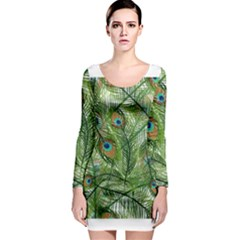 Peacock Feathers Pattern Long Sleeve Bodycon Dress