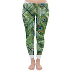 Peacock Feathers Pattern Classic Winter Leggings