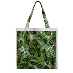 Peacock Feathers Pattern Zipper Grocery Tote Bag
