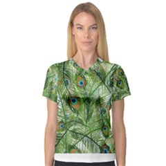 Peacock Feathers Pattern Women s V Neck Sport Mesh Tee