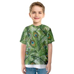Peacock Feathers Pattern Kids  Sport Mesh Tee