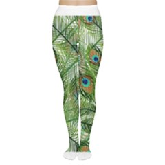 Peacock Feathers Pattern Women s Tights