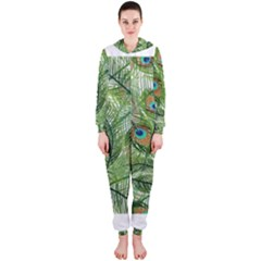 Peacock Feathers Pattern Hooded Jumpsuit (Ladies)