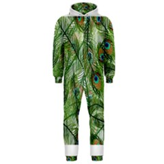 Peacock Feathers Pattern Hooded Jumpsuit (Men)