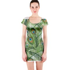 Peacock Feathers Pattern Short Sleeve Bodycon Dress