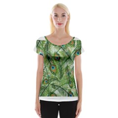 Peacock Feathers Pattern Women s Cap Sleeve Top