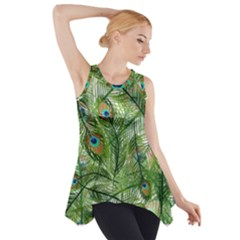 Peacock Feathers Pattern Side Drop Tank Tunic