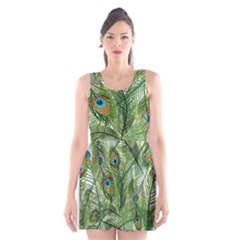 Peacock Feathers Pattern Scoop Neck Skater Dress