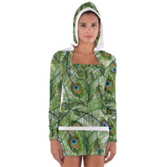 Peacock Feathers Pattern Women s Long Sleeve Hooded T-shirt