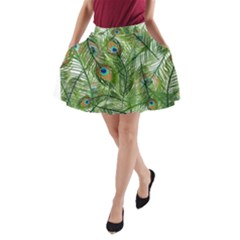Peacock Feathers Pattern A-Line Pocket Skirt