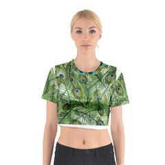 Peacock Feathers Pattern Cotton Crop Top