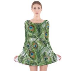 Peacock Feathers Pattern Long Sleeve Velvet Skater Dress