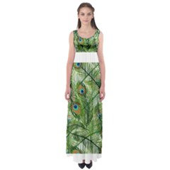 Peacock Feathers Pattern Empire Waist Maxi Dress